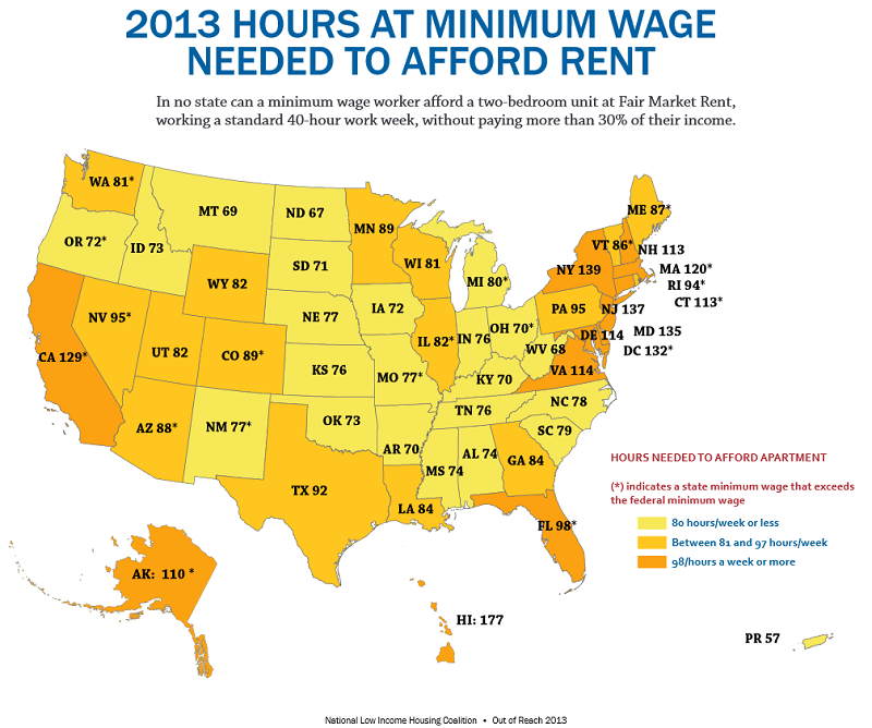 Infographic - Map with how many hours you have to work to afford a 2 br apartment.