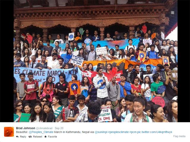 """Photo People's Climate March: Crowd in Katmandu, Nepal."