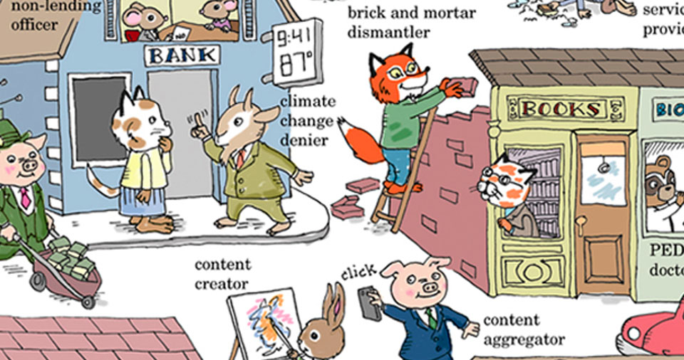 "Cartoonist Richard Bolling's parody with 21st-century ""Busytown"" jobs is hilarious. Alas, the ""new economy"" is scary as Hell."