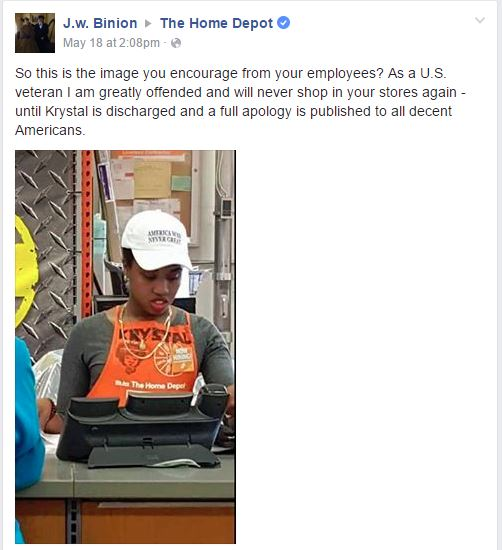 So this is the image you encourage from your employees? As a US veteran I am greatly offended and will never shop in your stores again.