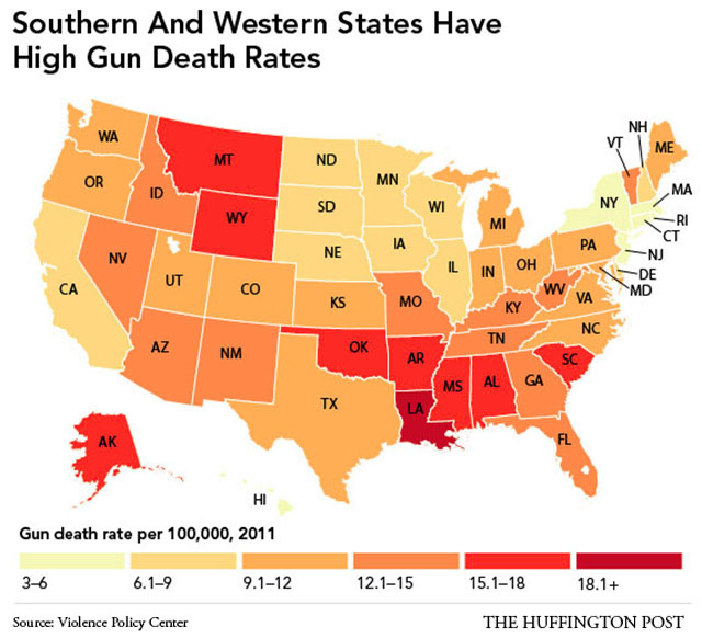 The Southernization Of America In Maps - Us gun murders map