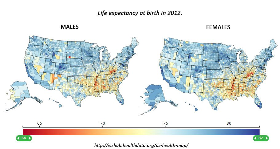 "The Southernization of America: Average life expectancies for men and women, 2012: <a href=""http://vizhub.healthdata.org/us-health-map/"" target=""_blank"">VizHub US Health Map</a>."