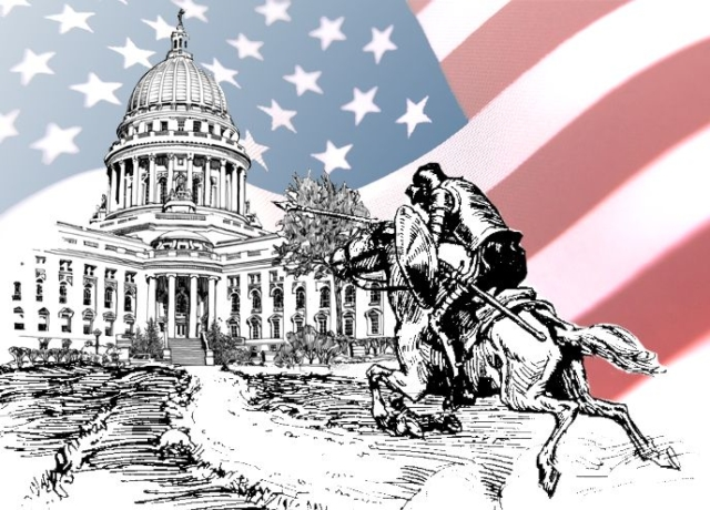 Don Quixote tilting at the Capitol Building with U.S. flag in the background - Elisabeth Parker.