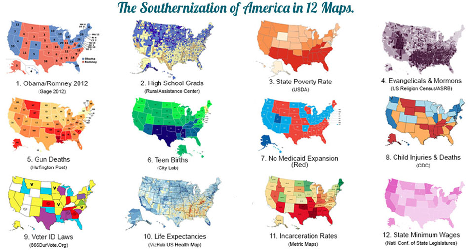 Infographic by Elisabeth Parker with 12 maps by state: Obama/Romney 2012; high school grads, state poverty rates (USDA), evangelicals and LDS, gun deaths, teen births, no Medicaid expansion, child insuries and deaths, voter ID laws, life expectancies, incarceration rates, state minimum wages.