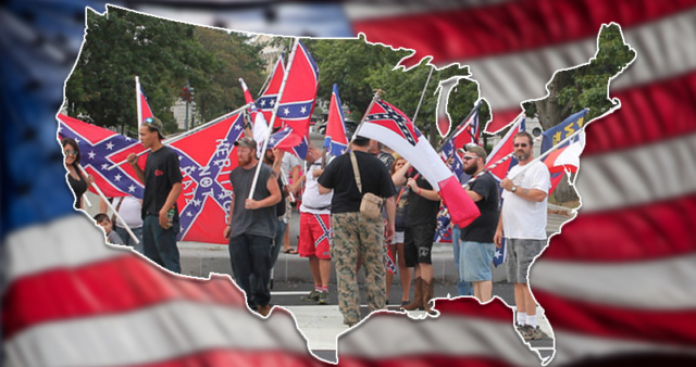 Image with US map cutout with photos of Confederate flag demonstrators inside, against U.S. flag background.. -- Elisabeth Parker