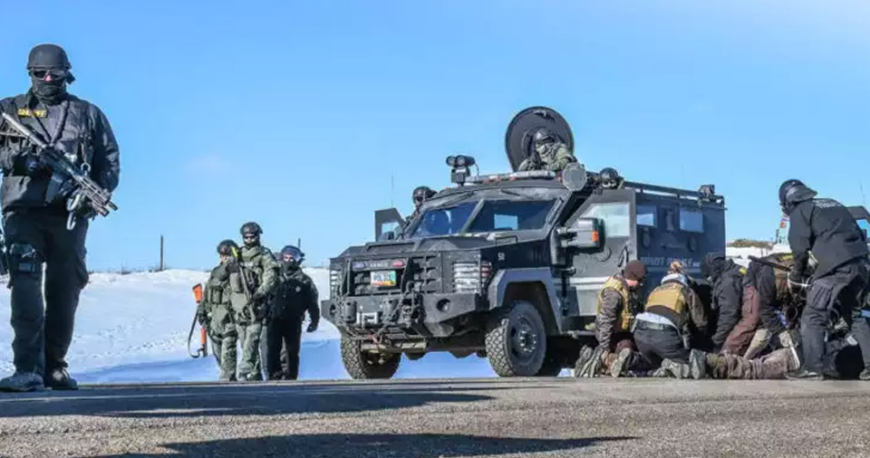 On Wednesday, heavily armed police officers in riot gear arrived in tanks and arrested 76 unarmed and peaceful Water Protectors at Standing Rock.