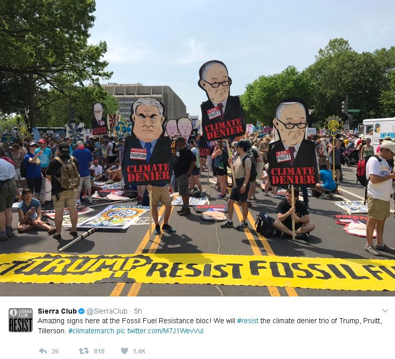 Sierra ClubVerified account @SierraClub 5h5 hours ago More Amazing signs here at the Fossil Fuel Resistance bloc! We will #resist the climate denier trio of Trump, Pruitt, Tillerson. #climatemarch