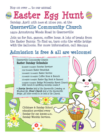 2009: Designed flier with graphics and illustrations for the Guerneville Community Church's annual Easter Egg Hunt.