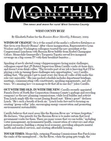 Russian River Monthly - West County Buzz - February 2011
