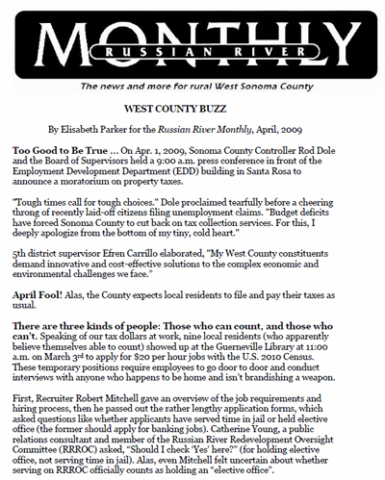 Russian River Monthly - West County Buzz - April 2011