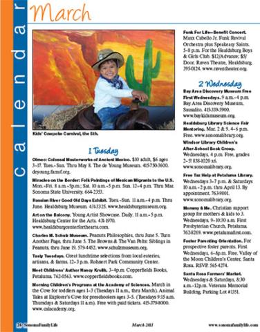 Sonoma Family Life - Sample Calendar.