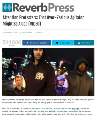 Reverb Press: Attention Protesters: That Over-Zealous Agitator Might Be A Cop (VIDEO).