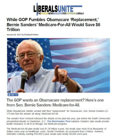 Liberals Unite: While GOP Fumbles Obamacare 'Replacement,' Bernie Sanders' Medicare-For-All Would Save $6 Trillion.