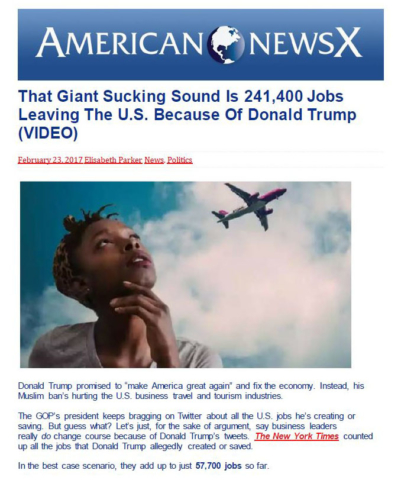 American News X: That Giant Sucking Sound Is 241,000 Jobs Leaving The U.S. Because Of Donald Trump (VIDEO).