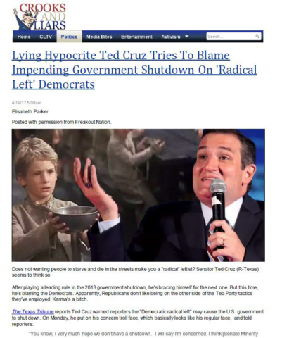 Crooks and Liars: Lying Hypocrite Ted Cruz Tries To Blame Impending Government Shutdown On 'Radical Left' Democrats.