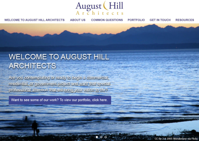 Screen capture of the August Hill Architects website.