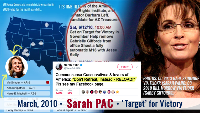 Sarah Palin all-but-calls for armed insurrection to remove Democratic House reps. in 2010., including Arizona's Gabby Giffords, who was later shot.