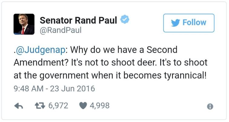 Rand Paul tweet calling for armed insurrection.