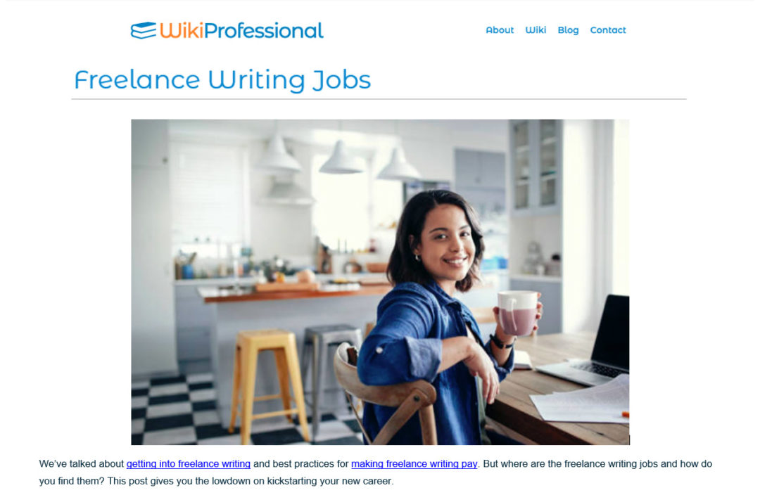 "Photo of woman with laptop and coffee working from home. ""Freelance Writing Jobs"" - Wiki Professional - Content writing and editing sample by Elisabeth Parker,"