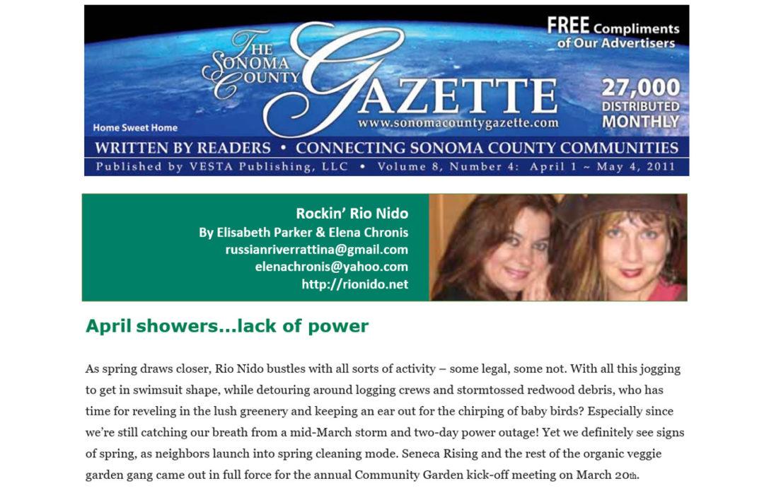Elisabeth Parker - Writing Samples - Sonoma County Gazette - Rockin' Rio Nido - April 2011.