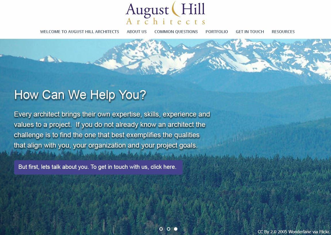 August Hill Architects website revamp - Third home page slider - Elisabeth Parker's portfolio.