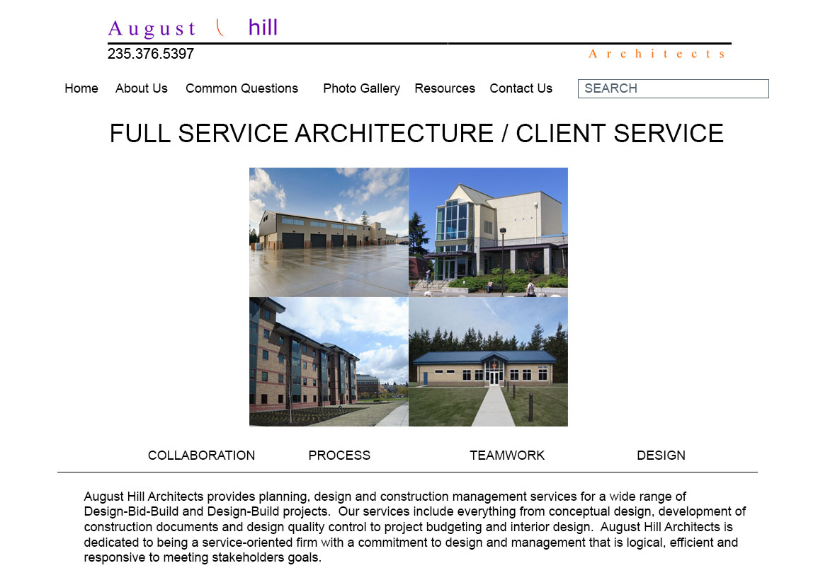 August Hill Architects website - Before.