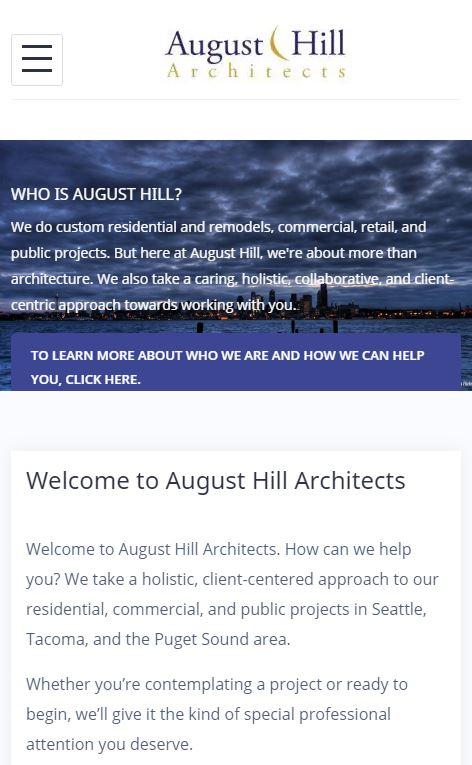 August Hill Website revamp - mobile.