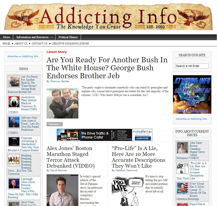 Addicting Info home page - Before.