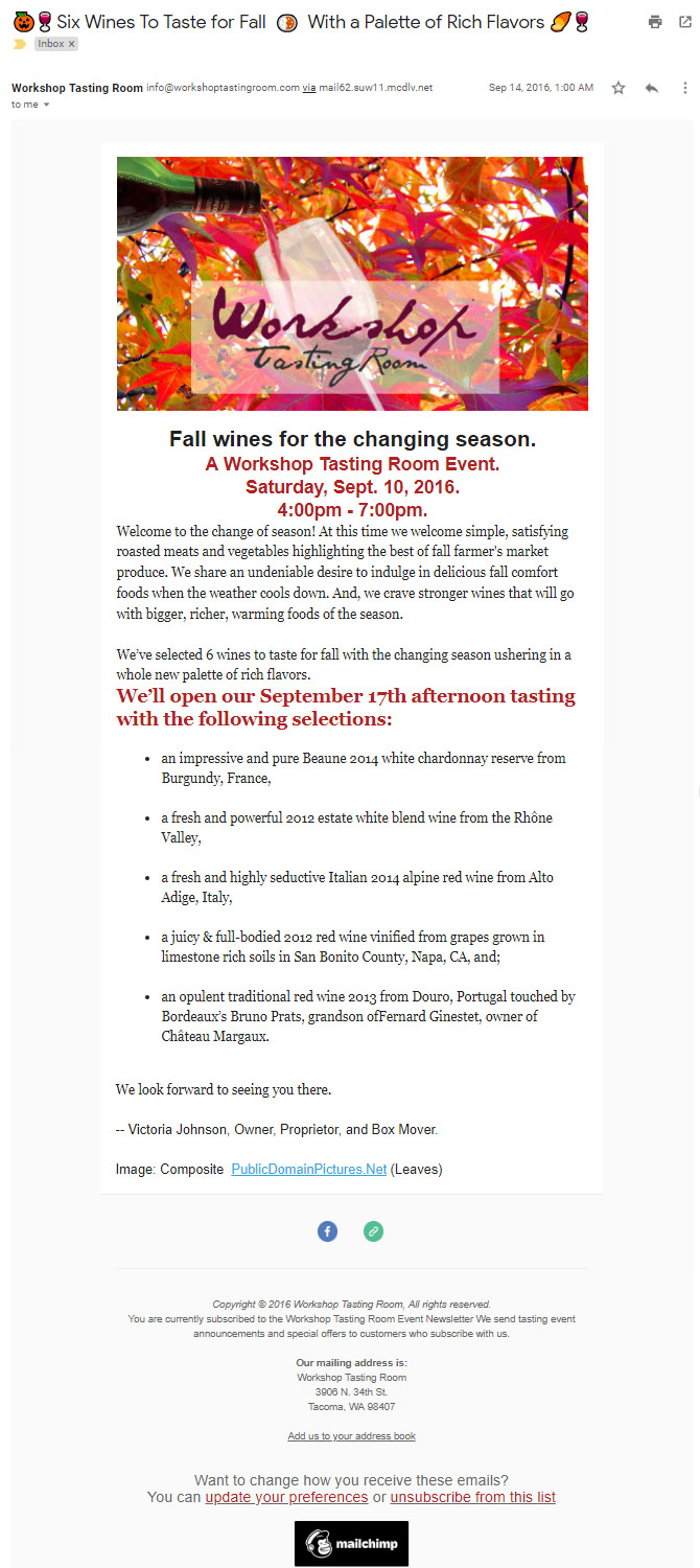 Workshop Tasting Room - Email invitation - Autumn wine tasting.