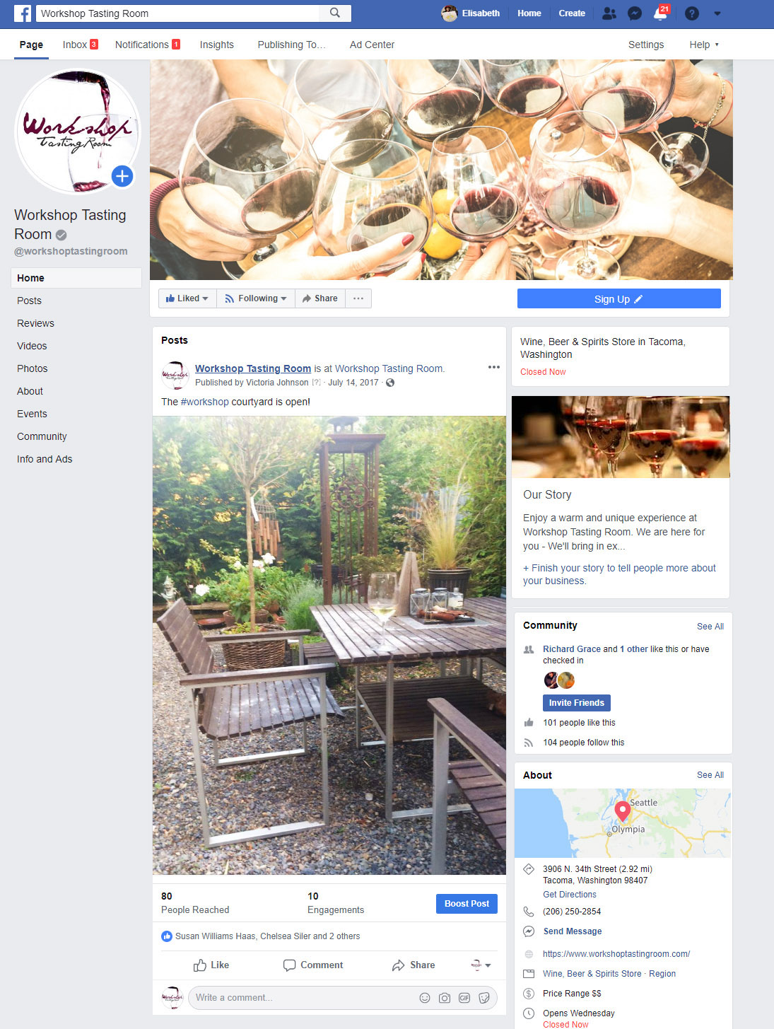 Workshop Tasting Room - screenshot of Facebook page - Elisabeth Parker's portfolio.