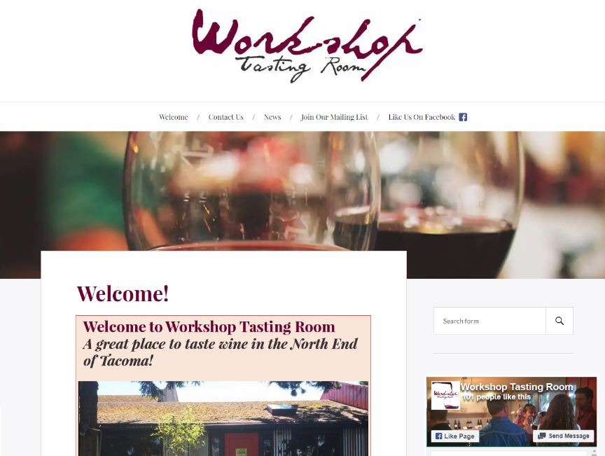 Workshop Tasting Room - Screenshot of Home page - Elisabeth Parker's portfolio.