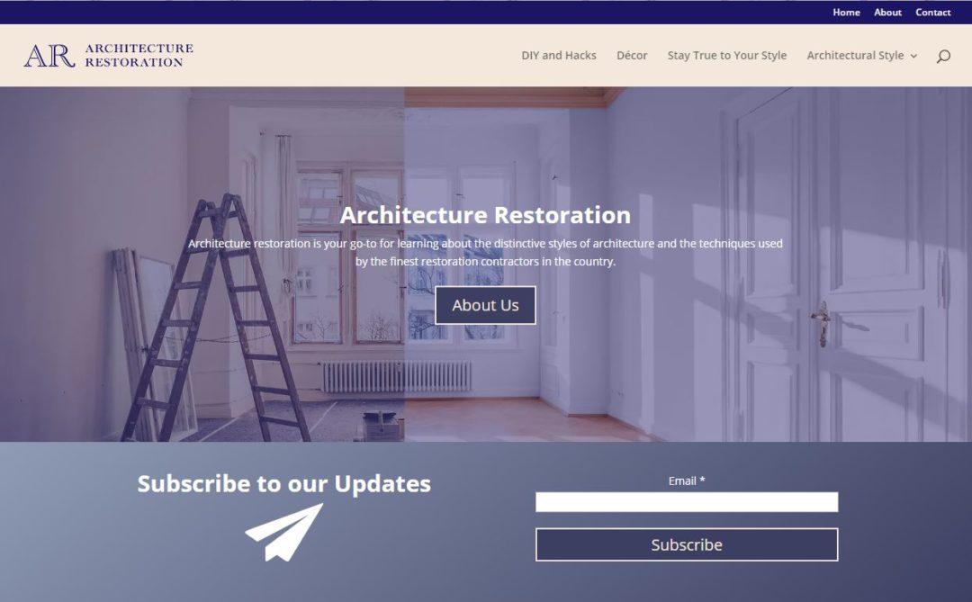 Architecture Restoration website - screenshot - Elisabeth Parker's portfolio.