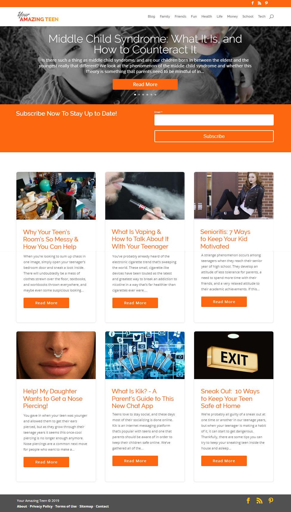 2018 - Your Amazing Teen website - Elisabeth Parker's portfolio.