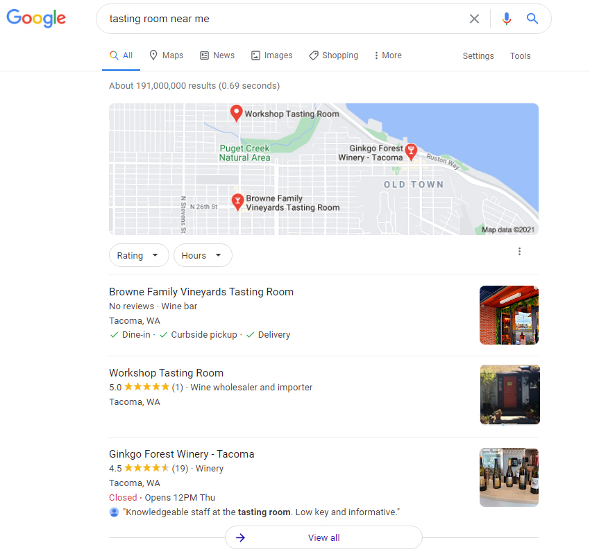"Screenshot of Workshop Tasting Room appearing in the top 3 for local search in Tacoma (""tasting room near me"")."