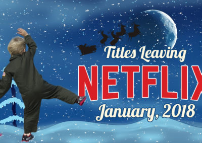 Visual Design - Featured image for Titles Leaving Netflix in January, with photo of kids waving goodbye to Santa's sleigh across snowy landscape and midnight sky. For NetflixUpdate.Com.
