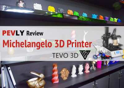 Visual Design -- Image with objects made by the TEVO 3D Michelangelo 3D printer. For Pevly.Com.