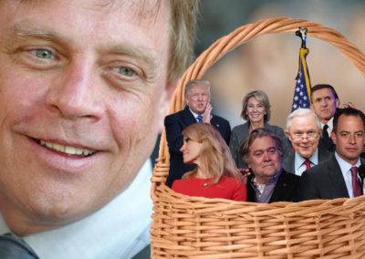 Mark Hamill with a basket of deplorables after calling out Trump administration. Article for BipartisanReport.Com.