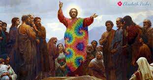 "Jesus Christ giving Sermon on the Mount in tie-dyed robes. ""Jesus Christ was a Liberal."""