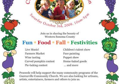 2009 Community Harvest Celebration Flier for the Guerneville Community Church.