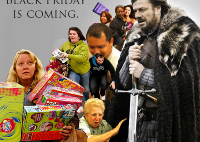 Black Friday is Coming. Ned Stark from Game of Thrones with stampede of marauding shoppers in the background.