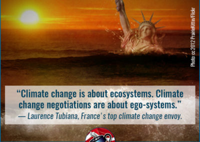 "Coffee Party meme: ""Climate change is about ecosystems. Climate change negotiations are about ego systems."" - Laurence Tubiana, France's top climate change envoy."