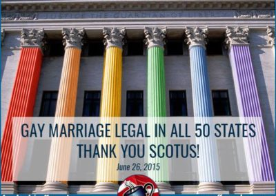 Photo of Supreme Court with rainbow colors on pillars for colonnade outside. Gay Marriage Legal in All 50 States. Thank you, SCOTUS.