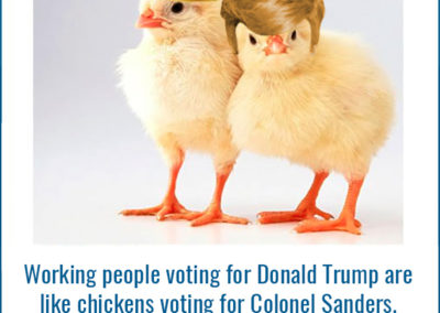 Photo of chick in hardhat and chick with Trump wig. Working people voting for Donald Trump are like chickens voting for Colonel Sanders.