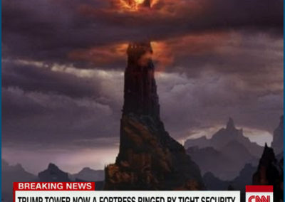 "Screenshot of Mordor with chyron from CNN: ""Trump Tower Now a Fortress Ringed by Tight Security."""