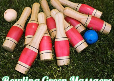In memory of the fallen: Bowling Green Massacre. (Photo of fallen bowling pins on lawn).