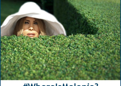 #WhereIsMelania? (Hiding behind bushes with big hat & Sean Spicer peeking over another hedge.