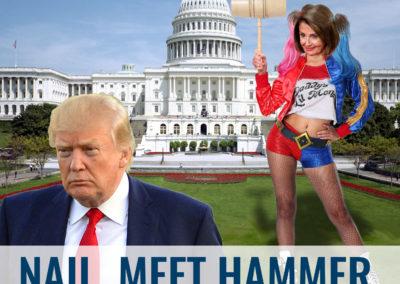 Meme - Nail Meet Hammer - Nancy Pelosi as Harley Quinn and Donald Trump sulking away.