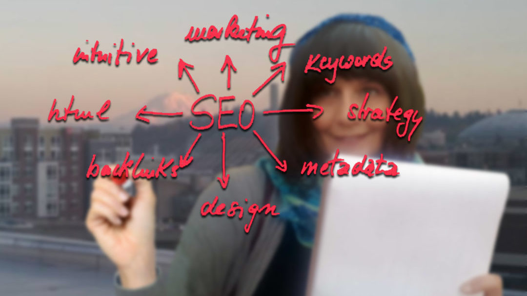 SEO Content Writing & Affiliate Marketing. Photo of Elisabeth writing on whiteboard with SEO diagram.