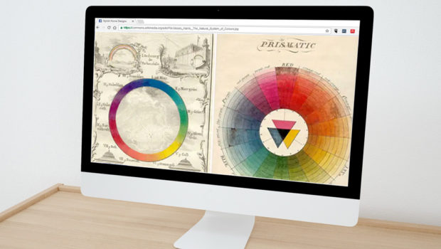 Visual Design - Elisabeth Parker's Portfolio - Photo of computer with color theory illustrations from the 1700s.