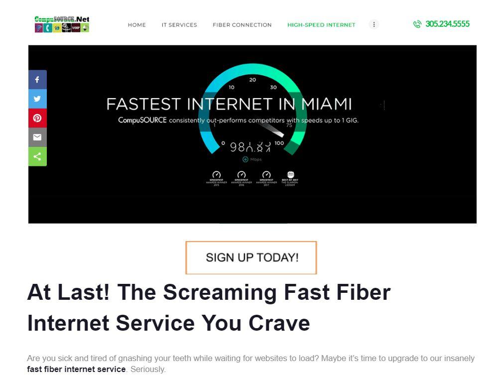 Fast Fiber Internet Service - screenshot of landing page.